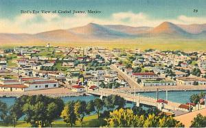 Linen Bird's Eye View of Ciudad Juarez Mexico