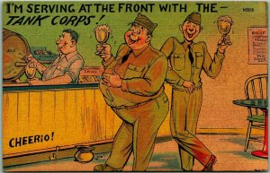 1943 WWII Comic Postcard Serving at the Front with the Tank Corp Beer Linen