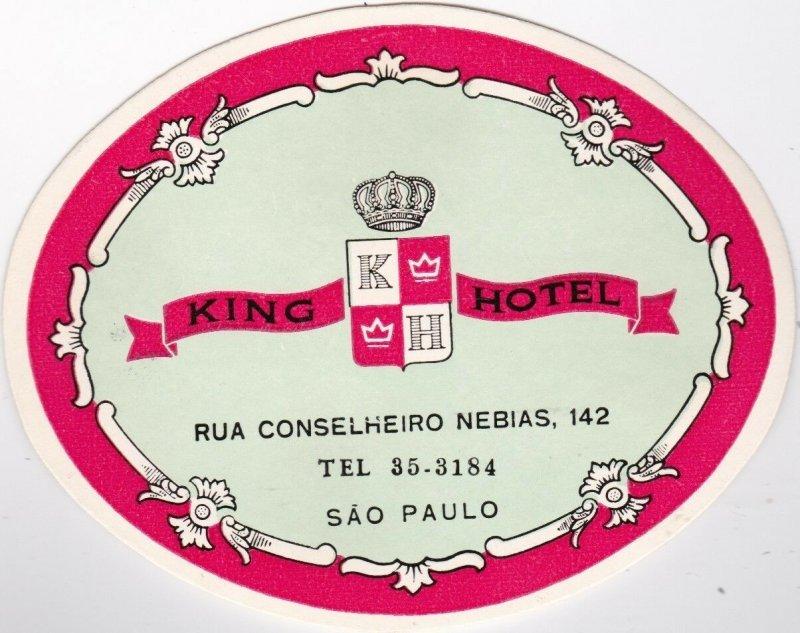 Brasil Sao Paulo The King Hotel Vintage Luggage Label lbl0185