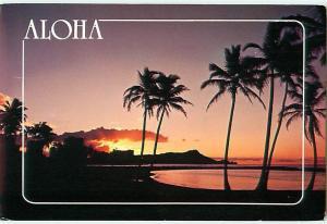 Aloha Honolulu Hawaii Diamond Head Sunset Palm Tree Skyline   Postcard  # 7052
