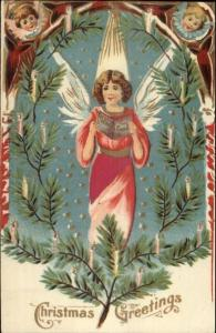 Christmas - Angel Singing - Real Silk Dress c1910 Postcard