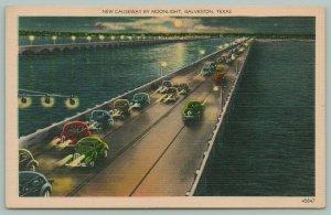 Galveston Texas~New Causeway by Moonlight~13,200ft~4 Lane Hwy~Postcard