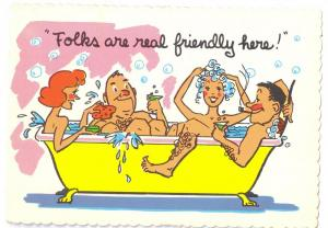 Folks are real friendly here Couples in Bathtub 1973 Comic Postcard Mexico