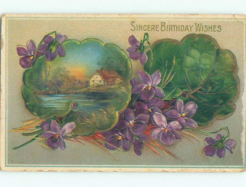 Divided-Back birthday BEAUTIFUL VIOLET FLOWERS & LAKE SCENE W7004