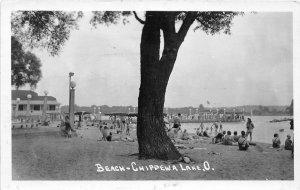 F51/ Chippewa Lake Medina Ohio RPPC Postcard 1942 Beach Tree Bathers 2