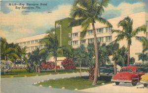 Key Biscayne Florida~Nice 1950s Cars Parked at Key Biscayne Hotel~1953 Linen PC