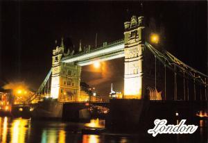 High Quality Glossy Postcard Tower Bridge at Night, London NEW