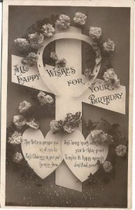Happy Wishes for your Birthday Cross, Carnations, Horseshoe, Black and White