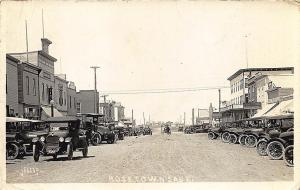 Rosetown Sask Canada W. C. King Storefronts Old Cars RPPC Postcard