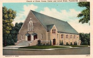 Fayetteville, AR, Church of Christ, Center & Locust, Vintage Postcard f9730