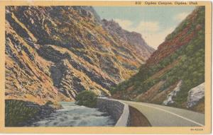Ogden Canyon, Utah, 1956 used linen Postcard