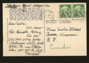 USA Postmark 1956 Evanston WYO. Mormon Temple Salt Lake City Utah Linen Postcard