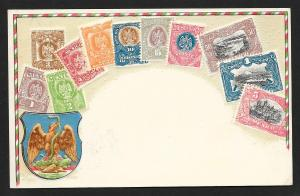 MEXICO Stamps on Postcard Embossed Shield Unused c1905