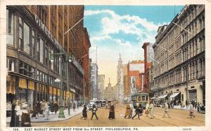 Pa. Philadelphia, East Market Street West from 8th Street, animated, trams cars