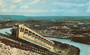 Chattanooga TN~Incline Car on Lookout Mountain~Tennessee River & City Bknd~1950s
