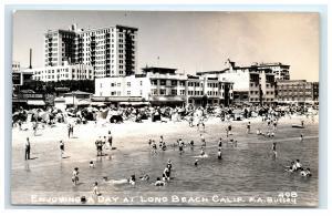 Postcard Enjoying a Day at Long Beach, CA RPPC G41