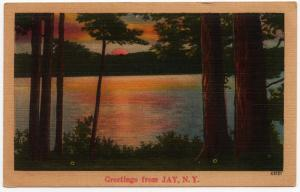 1930-45 Greetings From JAY NY Essex New York NYCE Landscape RARE Linen Postcard