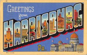 Harrisburg Pennsylvania Large Letter Linen Antique Postcard J49850