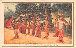Bali Indonesia, Republik Indonesia Vrouwen op Weg Naar Den Offertempel Bali V...