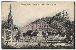 Old Postcard Haute Alsace Thann and Angelsburg castle in 1600