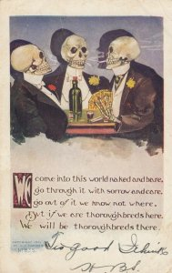 2 skeletons playing cards , 1909 ; Skull