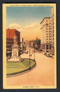 Portland, Maine/ME Postcard, Circle Park/Deering Oaks