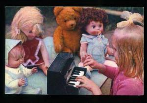 137416 SOVIET Girl Musician PIANO TEDDY BEAR DOLL old Russia