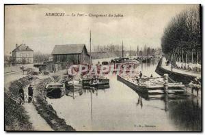 Postcard Old Port Ardoisieres Nemours Loading sands Barges Boats