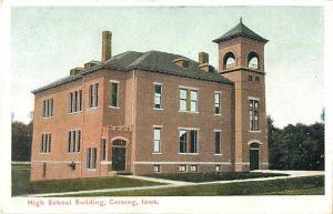 High School Building, Corning, Iowa IA White Border Postcard