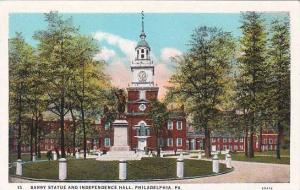 Pennsylvania Philadelphia Barry Statue And Indepndence Hall