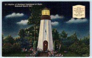 REHOBOTH BEACH, DE  Replica of HENLOPEN LIGHTHOUSE at Night  c1940s   Postcard