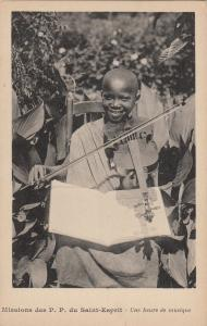 Africa missions ethnic african boy violin music lesson early postcard