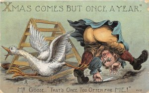 Lot218 comic postcard  man trying to catch a goose uk greetings christmas