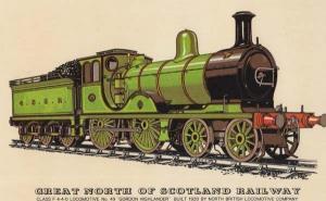 Great North Of Scotland Gordon Highlander Locomotive 49 Train Postcard