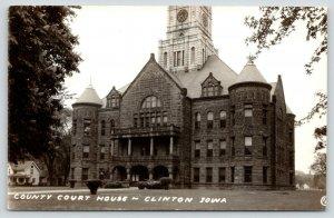 Clinton Iowa~8:36 Closeup of County Courthouse w/Clocktower~Neighbor~1940s RPPC