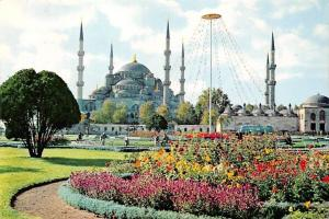 Turkey Istanbul The Blue Mosque Blaue Moschee Flowers General view