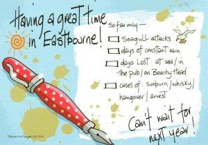 I Got Arrested Pub Attacked Birds Fountain Pen Eastbourne Comic Postcard