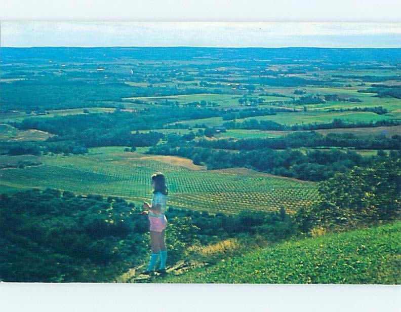 Pre-1980 GIRL VIEWING THE ANNAPOLIS VALLEY Canning In Annapolis Valley NS F8827