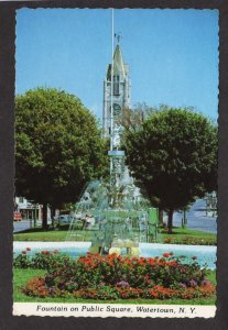 NY Fountain Public Square Church Watertown New York Postcard City View
