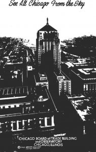 Illinois Chicago Aerial View Board Of Trade Building and Observatory Real Photo