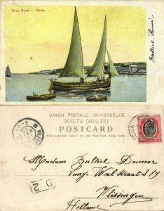 malta, GOZO, Harbour with Saling Boat (1906) Postcard
