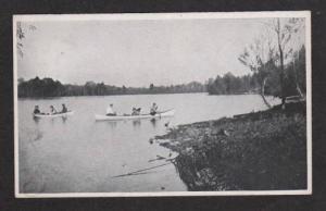 ME Vintage Canoe Boats Lake Sleepy Hollow Kent's Hill Maine Postcard PC