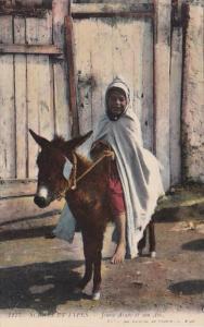 Algeria Scenes Et Types Jeune Arabe el son Ane Young Girl On Donkey