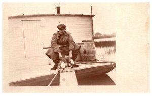1920's  Duck Hunter  on Blind in Salt Marsh, RPC