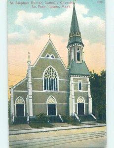 Divided-back CHURCH SCENE South Framingham Massachusetts MA AD1249