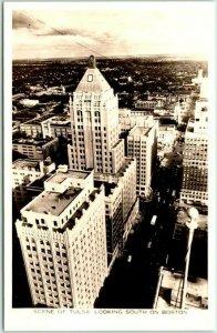 1940s Tulsa, Oklahoma RPPC Photo Postcard Aerial View Looking South on Boston