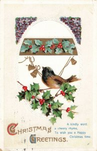 C.1912 Christmas Greetings Embossed Postcard Bird on Holly Branches ~ Cregau