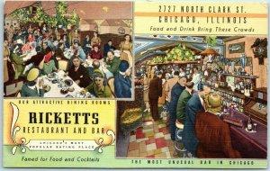 Chicago, Illinois Postcard RICKETTS Restaurant & Bar 2727 N. Clark  Street Linen