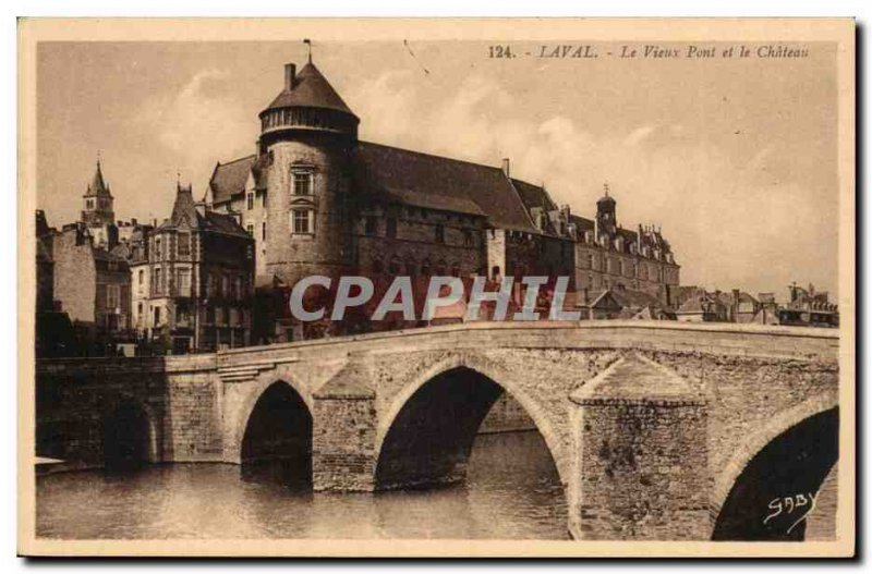 Laval Old Postcard The old bridge and castle