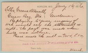 Horicon Wisconsin~Van Brunt & Wilkins Mfg Co~Jan 16th 1886